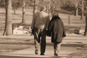 old couple walking
